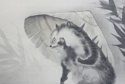 Raccoon dog JAPANESE PAINTING HANGING SCROLL From JAPAN Personificationd698