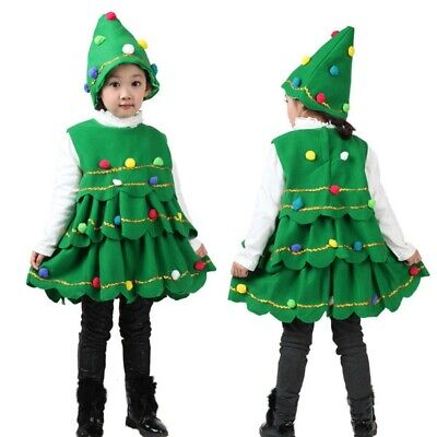 Christmas Baby Kids Girls Xmas Tree Costume Dress Tops Party Vest Hat Outfit Set
