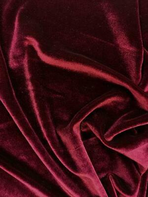 French (Wine Red) 4 WAY Spandex Stretch Velvet Fabric By The Yard// Smooth Back