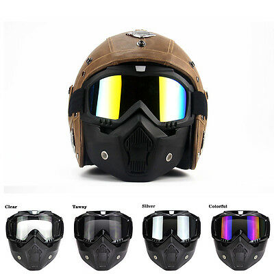New Fits Motorcycle Half Face Helmet with Mask Adjustable Safety Protector BSP