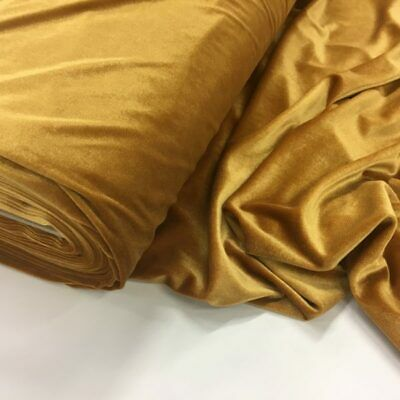 French (Gold) 4 WAY Spandex Stretch Velvet Fabric By The Yard//Smooth Back