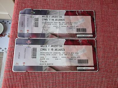 rugby union   2 ticket stubs,(USED)  WALES V ARGENTINA 12TH NOV 2016 ,(1)