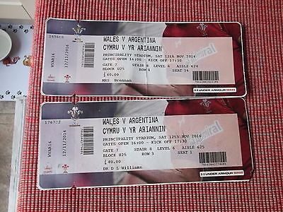 rugby union   2 ticket stubs,(USED)  WALES V ARGENTINA 12TH NOV 2016 ,