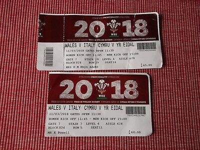 rugby union programmes,WALES V ITALY 6 NATIONS,11/3/2018 2 USED TICKETS (2)
