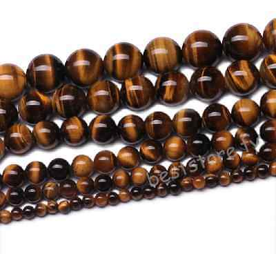 4mm 6mm 8mm 10mm 12mm Natural Tiger's Eye Gemstone Round Loose Spacer Beads