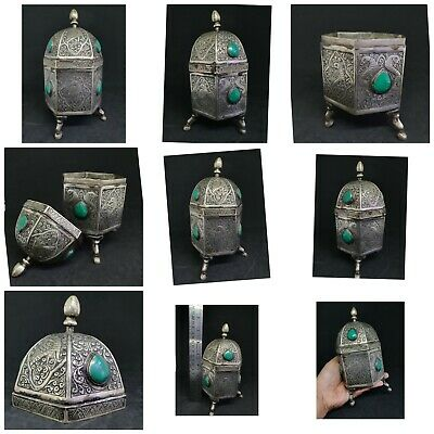 Wonderful Rare White Metal Handmade Old Box Amazing Art With Turquoise Stone #
