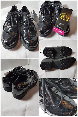 F and F Girls Heavy Brogue School Shoes BNWT  sizes in 1-5