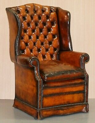 Fully Restored Victorian Chesterfield Porters Wingback Armchair Brown Leather