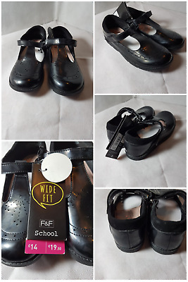 F and F Girls Cleated Wide Fit School Shoes BNWT  sizes in infant 12 - Adult 2