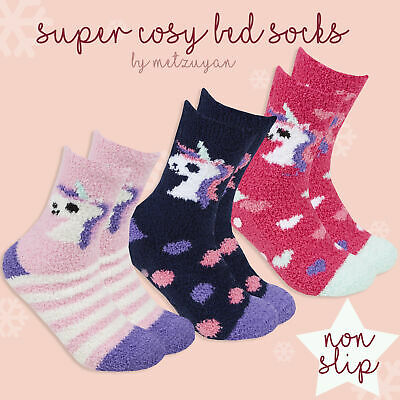 Ladies Cosy Bed Socks with Grippers Womens Lounge Slipper Socks Non Skid Unicorn