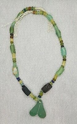 Ancient Roman Glass Beautiful Beads Rare Shape 20 century Necklace