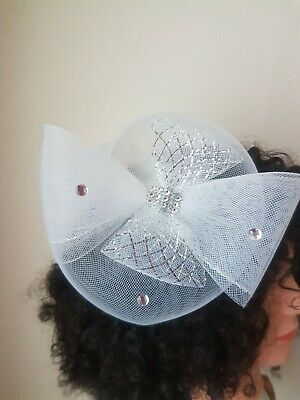 White silver gemsWedding Fascinator Hairpiece Ladies Day Races Royal Ascot