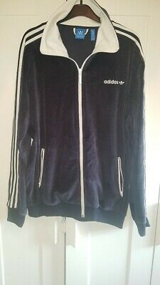 Adidas Orginal Navy/Purple Velour Tracksuit Top Large