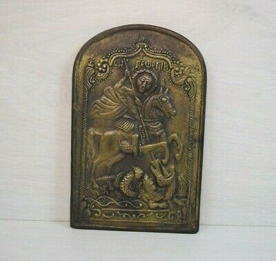 Vintage Bronze-Brass Russian Orthodox Icon Saint Geroge Killing The Dragon 20s