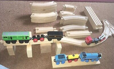 🚂 50pc Thomas & Friends Wooden Train Track Railway Vtg SeT Boco 8 Cars GuC L👀K