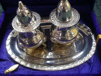 Silver Plated Epns Condiment Salt & Pepper Set With Tray New In Presentation Box