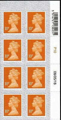 QE2 - 2018  MNH 10p Date  Block of 8  with  Overlay  M18L & MAIL