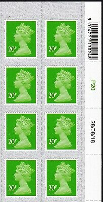 QE2 - 2018  MNH 20p Date  Block of 8  with  Overlay  M18L & MAIL