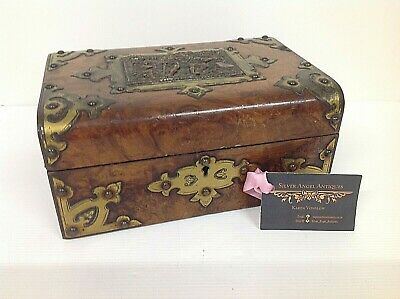 ANTIQUE VICTORIAN BURR WALNUT JEWELLERY or SEWING  BOX WITH BLACK FOREST CARVING