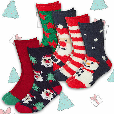 2 Pairs Unisex Kids Boys Girls Bed Slipper Socks Xmas Christmas Pattern Non Skid