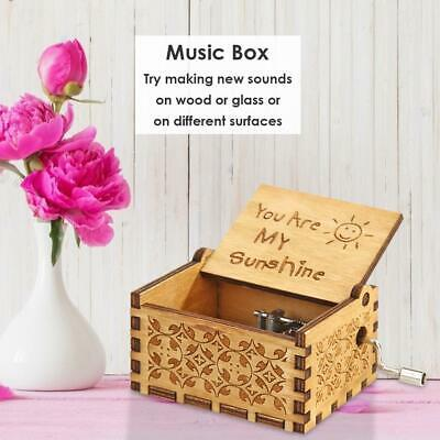 Retro Carved Wooden Manual Music Box Hand Cranked Birthday Classic Gift Ornament