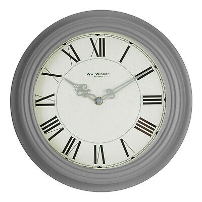 Retro Grey Metal Wall Clock Round Ornate Hands Roman Numerals