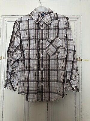 Boys Brown Checked Shirt, Aged 6, 100% Cotton