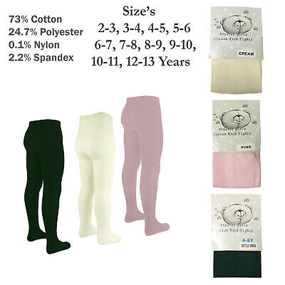 1 2 Or 3 Pairs Of Girls Plain Tights Cotton Rich Tight School Plain Tights 2-13Y