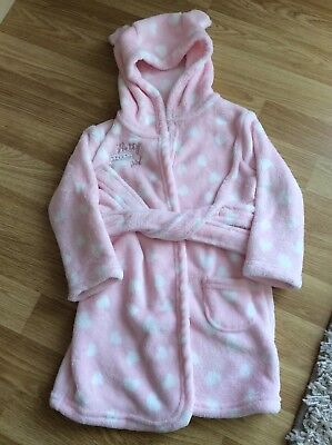 Asda George Girls Pink & White Dressing Gown With Hood Size 12-18 Bnwots