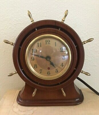 Vintage Seth Thomas Ship Wheel Helm Brass & Wood Clock E006-000 Capstan2E