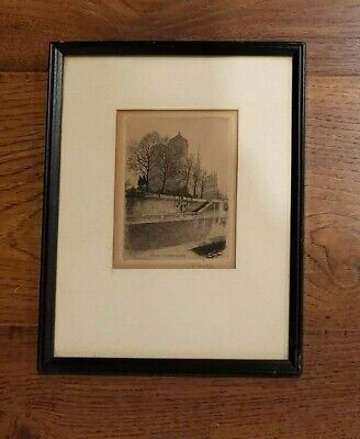 ANTIQUE EARLY 1900's FRENCH Etching by LEOPOLD ROBIN NOTRE DAME
