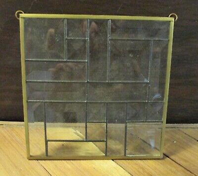 Vintage Sun Catcher Clear Stained Art Glass Block Optic Brass