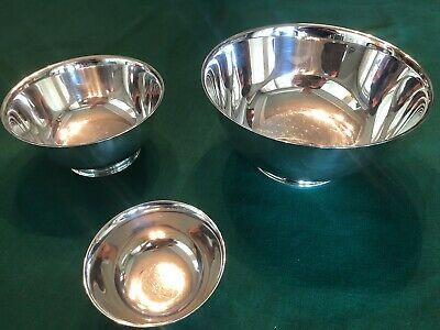 """3 Oneida Silver Bowls - """"Paul Revere Reproduction"""" Silversmith - 8"""", 6"""", 4"""""""