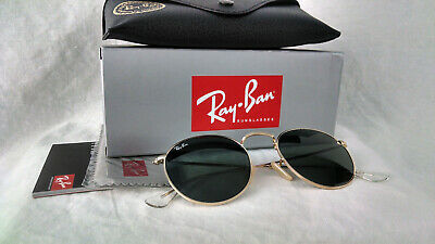 Ray-Ban RB 3447 001 50-21 gold frame green G-15 lens Round Metal authentic retro