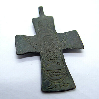 Byzantine Ancient Artifact Bronze Cross With Saint