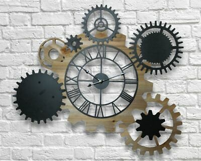 Giant Retro Vintage 85cm Industrial Metal & Wood Gear Wheel Display Wall Clock