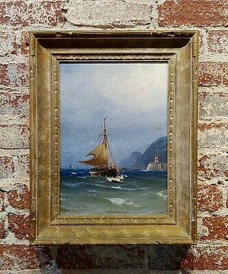 Ludvig Richarde -Sail Boat at sea-19th century Swedish Oil painting