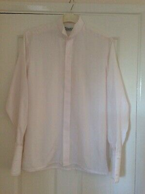 Vintage 1980s men's evening dinner shirt winged collar pale pink s/m see measure