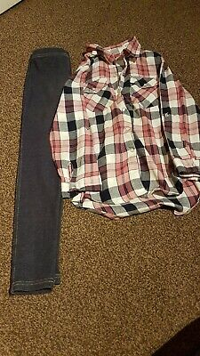 6-7 Girls Shirt And Jeggins Outfit Primark
