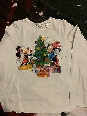 Girls Disney Xmas L Sleeve T-Shirt H&M Age 8-10 Yrs EUC