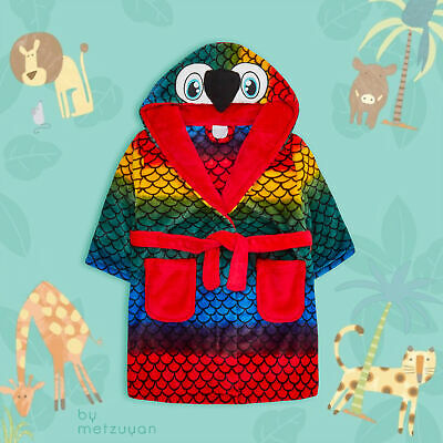Infant Kids Boys Girls Animal Hooded Dressing Gown Parrot Colourful Bird Cartoon