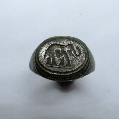 Roman Egyptian Ancient Artifact Bronze And Silver  Ring With Elephant