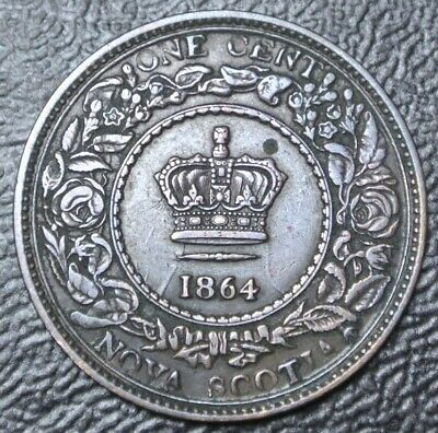 OLD CANADIAN COIN 1864 NOVA SCOTIA ONE CENT-BRONZE-Victoria-ERROR- CLASHED DIES