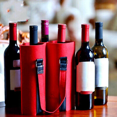 Holiday Travel Wedding Party Carrier Tote Picnics With Handles Felt Red Wine Bag