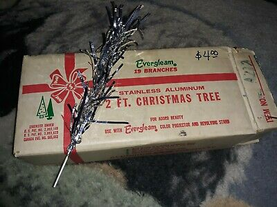 Vintage Evergleam Stainless Aluminum 19 Branches For 2 Ft Christmas Tree w/ Box