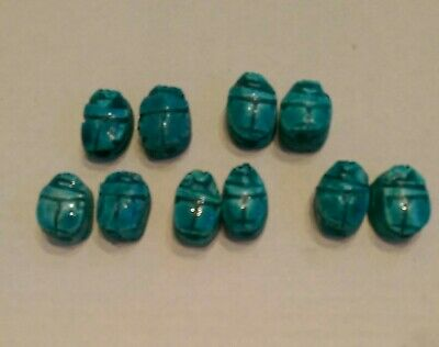LOT of 10 Turquoise Blue Egyptian Hand Carved SCARAB Beetle BEADS -NOS