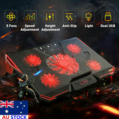 New 12-17'' Notebook Cooler Pad 5 LED Fans Touch Cooling Stand For Gaming Laptop