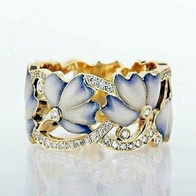 Fashion Butterfly 18k Yellow Gold Plated Rings Women Resin Wedding Rings Sz 6-10