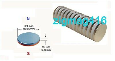 """D3/4"""" x 1/8"""" thick, N52, Powerful, Rare Earth, Neodymium Disc Magnet - Pack of 5"""