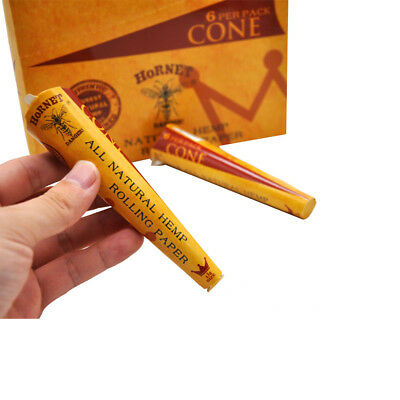 24 Pack-144 Cones AUTHENTIC HORNET Rolling Papers Pre-Rolled Classic Cones 1 1/4
